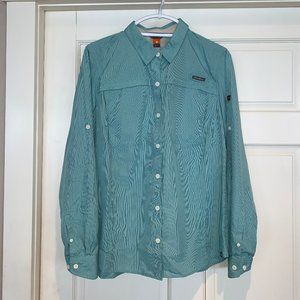 NEW Eddie Bauer Pebble Blue Long Sleeve Camp Shirt
